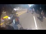 GTA 5 в реальной жизни мужик на  Range Rover сматывается от толпы байкеров 1 погибший Нью Йорк NYC NY погоня байк мотоциклис